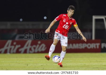 BANGKOK,THAILAND:JUNE 2015:(C)Apichet No.11of BEC-Tero;BEC-Tero Sasana-SCG Muangthong United at 72nd Anniversary Stadium;inThai Premier League on18July2015,Bangkok Thailand.  - stock photo