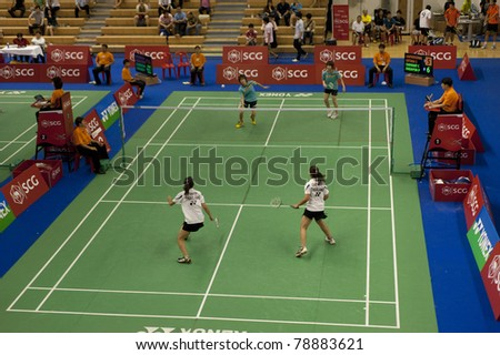BANGKOK THAILAND- JUNE 8 : C.Chayanit and P.Jindaporn in the preliminary rounds of SCG Thailand Open Grand Prix Gold 2011 on June 8, 2011 in Bangkok ,Thailand - stock photo