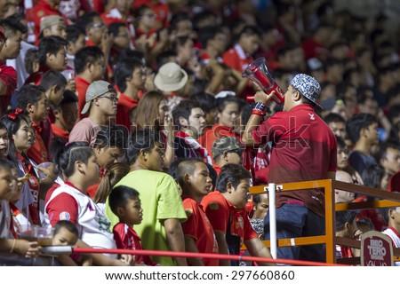 BANGKOK,THAILAND:JUNE 2015: Cheering of BEC-Tero in macth of;BEC-Tero Sasana-SCG Muangthong United at 72nd Anniversary Stadium;inThai Premier League on18July2015,Bangkok Thailand. - stock photo