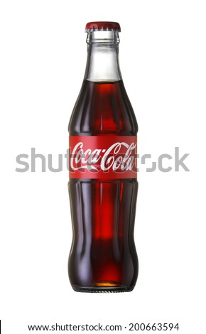 Bangkok, Thailand - JUNE 20, 2014: Coca-Cola Classic in a glass bottle Isolated on white Background. Coca Cola, Coke is the most popular carbonated soft drink beverages sold around the world