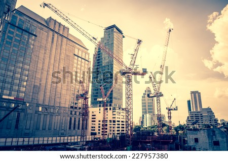 Bangkok, Thailand - June 3,2014 - Construction of the new shopping mall in the city on June 3,2014 - stock photo