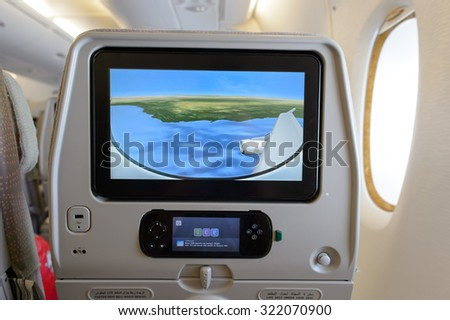 BANGKOK, THAILAND - JUNE 22, 2015: Emirates A380-800 interior. Emirates is one of two flag carriers of the United Arab Emirates along with Etihad Airways and is based in Dubai. - stock photo