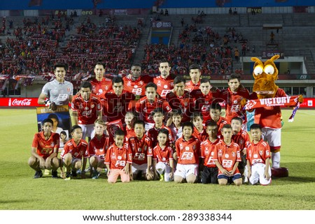 BANGKOK,THAILAND:JUNE 2015:11first-team players,Mass chords, and Lucky Boy BEC-Tero Sasana F.C.at Minburi72-years anniversary stadium;inThai Premier League on 20 june 2015,Bangkok Thailand.  - stock photo