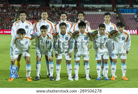BANGKOK,THAILAND:JUNE 2015: 11first-team players of TOT F.C. at SCG Stadium;inThai Premier League on 21 june2015,Bangkok Thailand. - stock photo