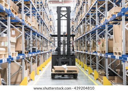 BANGKOK, Thailand - 16 June, 2016: Forklift in the new parts distribution center of BMW Group Thailand in Bangkok Free Trade Zone on Bangna-Trad Road Km.23
