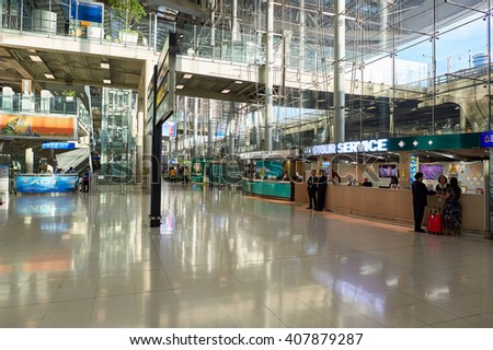 BANGKOK, THAILAND - JUNE 19, 2015: inside of Suvarnabhumi Airport. Suvarnabhumi Airport is one of two international airports serving Bangkok