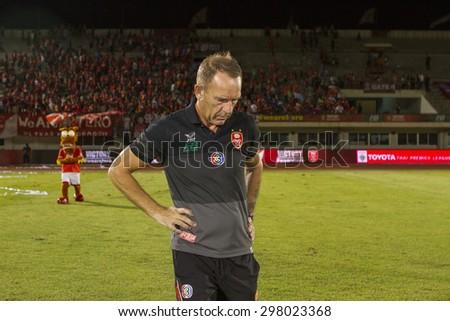 BANGKOK,THAILAND:JUNE 2015:Kenny Shielsi Head Coach of BEC-Tero;BEC-Tero Sasana-SCG Muangthong United at 72nd Anniversary Stadium;inThai Premier League on18July2015,Bangkok Thailand. - stock photo