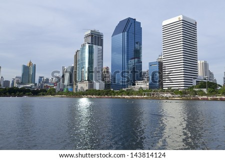 BANGKOK, THAILAND - JUNE 2 :Lake at the Benchakitti Park in Bangkok on June 2,2013. Benjakiti Park is a park in honor of Her Majesty Queen Sirikit, is located in the factory area.