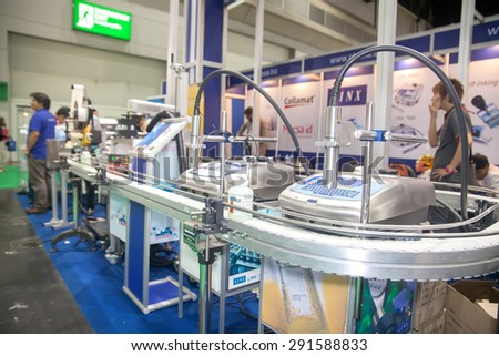 BANGKOK ,THAILAND - JUNE 20: line conveyor machine with senser 