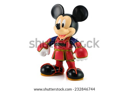 Bangkok, Thailand - June 18, 2014 : Mickey Mouse wear a kendo suit. This toy character form Disney Mickey Mouse animate. - stock photo