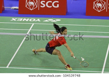 BANGKOK, THAILAND- JUNE 6: Porntip Buranaprasertsuk in action during the Rounds 1 of SCG Thailand Open Grand Prix Gold 2012 on June 6, 2012 at CU Sport Complex in Bangkok, Thailand