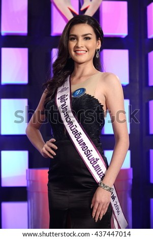 "Bangkok, Thailand - 15 June 2016 : Presentation and Audition from 40 to 14 Contestants of beauty Pageant ""Miss International Thailand 2016, MIT"