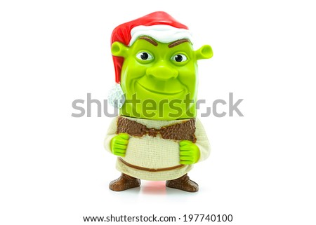 BANGKOK, THAILAND - June 5, 2014 : Shrek wear a santa claus character form the Shrek movie. There are toy sold as part of McDonald's Happy meal.