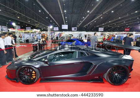 BANGKOK, THAILAND - JUNE 23 : Status of Lamborghini Aventador displayed in Bangkok International 2016 Auto Salon at June 23, 2016 Bangkok, Thailand. - stock photo