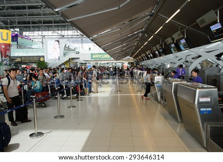 BANGKOK, THAILAND - JUNE 19, 2015: Suvarnabhumi Airport interior. Suvarnabhumi Airport is one of two international airports serving Bangkok - stock photo