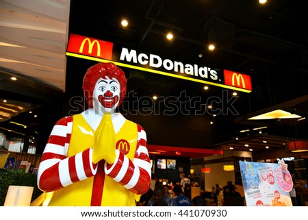 Bangkok, Thailand - June 12, 2016: Thai Style Mc Donalds Character in front of the shop in Central Grand Rama 9 Shopping Center - stock photo