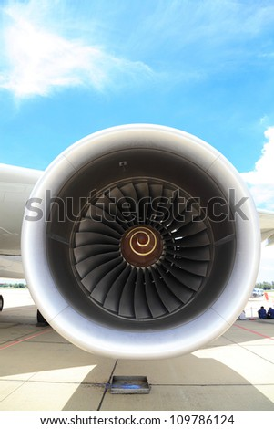 BANGKOK, THAILAND - JUNE 29: The Boeing 747-400 engine turbine was shown in Cerebration of 100 year of Royal Thai air force (RTAF) at Don Muang airport on June 29,2012 in Bangkok, Thailand