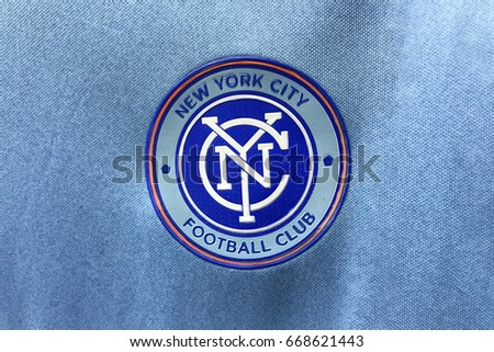 BANGKOK, THAILAND -JUNE 26: The Logo of New York City Football Club on an official jersey on June 26,2017.