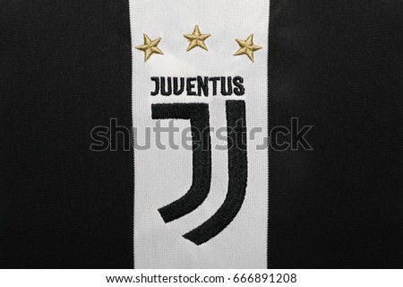 BANGKOK, THAILAND -JUNE 26: The New Logo of Juventus football club on an official jersey on June 26,2017.
