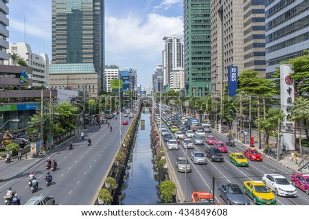 BANGKOK, THAILAND, June 8, 2016 : The traffic jam in Bangkok the capital of Thailand. Traffic busy city center road. Each year an estimated 150,000 cars join congested streets of the Thai capital.