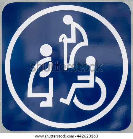 Bangkok, Thailand, June 25 2016: toilet sign for disabled people