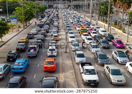 BANGKOK, THAILAND JUNE 13, 2015: Traffic during rush hour in Bangkok, Thailand on 13 June 2015. Bangkok is the most crowded city in Thailand. - stock photo