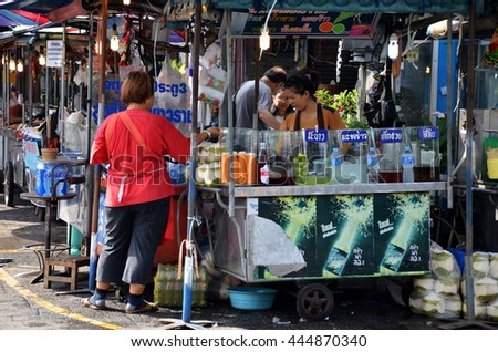 BANGKOK, THAILAND - JUNE 20, 2016: Unidentified vendor food at Chatuchak weekend market in Bangkok, Thailand. It is the most popular weekend market in Bangkok. - stock photo