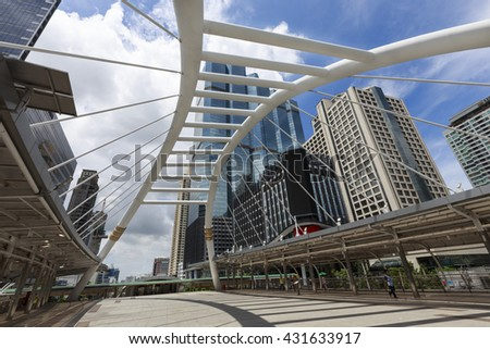 BANGKOK-THAILAND-JUNE-4-2016:View of high buildings and public sky walk for transit between Sky Transit and Bus Rapid Transit Systems at Sathorn-Narathiwas