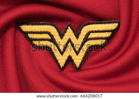 Wonder stock images royalty free images vectors shutterstock bangkok thailand june 20 wonder woman logo on red fabric on june 20 pronofoot35fo Gallery