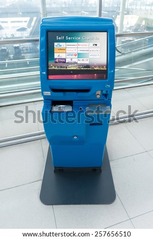BANGKOK, THAILAND - MAR 01: check-in self service terminals on March 01, 2015. Suvarnabhumi Airport is one of two international airports serving Bangkok.   - stock photo