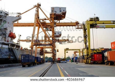 Bangkok-Thailand Mar 26 2016: Klong Toey Port In charge of the Port Authority of Thailand. Working with the image of a giant crane and trailer.