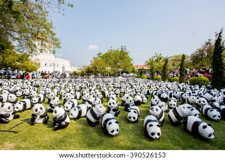 BANGKOK,THAILAND-MAR 12:1600 Pandas World Tour by WWF at Santi Chai Prakan Park on March 12, 2016. These paper marche pandas are made from recycled materials to represent 1600 pandas left in the wild.