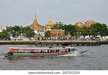 BANGKOK THAILAND - MAR 25: The tourists get on boat for sightseeing along Chao Phraya River in Bangkok on March 25 2015.