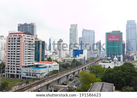 Bangkok , Thailand - Mar 15 , 2014 : View of building and street on Sathorn road Bangkok Thailand