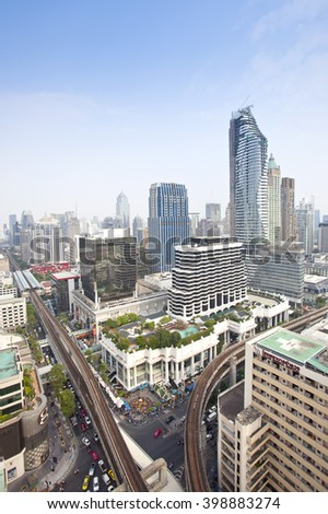 BANGKOK, THAILAND - March 30: Aerial cityscape view of Ratchaprasong area on March 30, 2016 in Bangkok. It is the main shopping and business street.