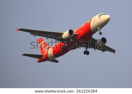 BANGKOK, THAILAND - March 19, 2015: Airbus A320-216 of Thaiairasia takeoff to Bangkok Donmueang airport from Chiangmai airport  - stock photo