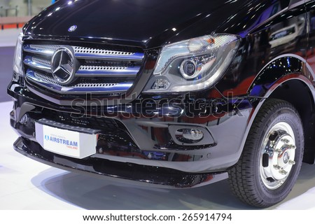 BANGKOK, THAILAND - MARCH 24 : Airstream created and designed Mercedes Benz touring coach displayed at the 36th Bangkok International Motor show  in March 24, 2015. Bangkok, Thailand. - stock photo