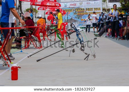 BANGKOK ,THAILAND - MARCH 15: Archery on the walk way. at 1st Asian Archery Grand Prix 2014 , on March 15, 2014 in Bangkok, Thailand.