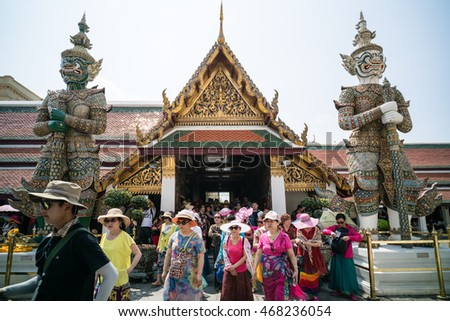 BANGKOK, THAILAND - MARCH 9, 2016: Chinese tourists at Wat Phra Kaew, The most famous tourist attraction in Bangkok, Thailand.