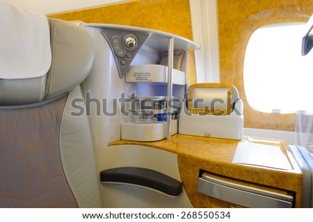 BANGKOK, THAILAND - MARCH 31, 2015: Emirates Airbus A380 business class interior. Emirates is one of two flag carriers of the United Arab Emirates along with Etihad Airways and is based in Dubai. - stock photo