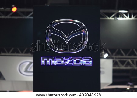BANGKOK, THAILAND - MARCH 28,2016(Exhibition Public) :  Mazda sign pylon in Mazda booth   at THE 37th BANGKOK INTERNATIONAL MOTOR SHOW , 23 March 2016 - 03 April 2016