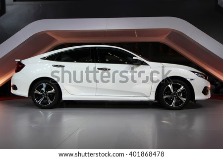BANGKOK, THAILAND - MARCH 28,2016(Exhibition Public) : Side view of The New Honda Civic 2016 at THE 37th BANGKOK INTERNATIONAL MOTOR SHOW , 23 March 2016 - 03 April 2016
