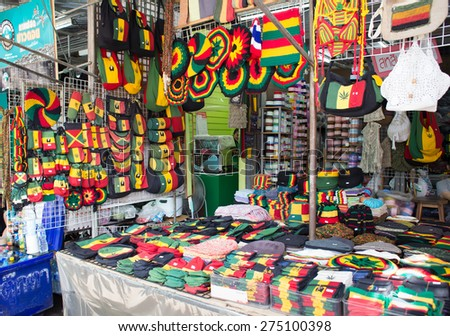 BANGKOK, THAILAND - MARCH 15 : Exterior view of Reggae Shop at Jatujak Market on March 15, 2015 in Bangkok, Thailand. Jatujak Market is the largest market in Thailand. - stock photo