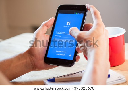 BANGKOK,THAILAND - March 13,2016: Facebook is an online social networking service founded in February 2004 by Mark Zuckerberg, Facebook is popular social networking site in the world, - stock photo