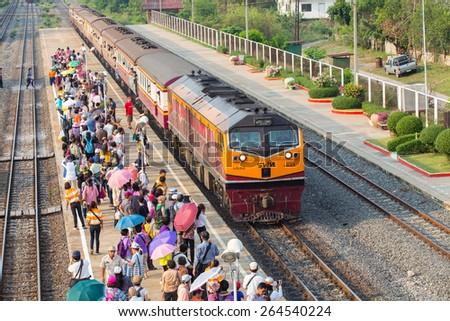 Bangkok, Thailand - 28 March Interior of Thailand Train Class 3 People travel from bangkok to ayutthaya by train, on 28 March, 2015 in Bangkok Thailand  - stock photo