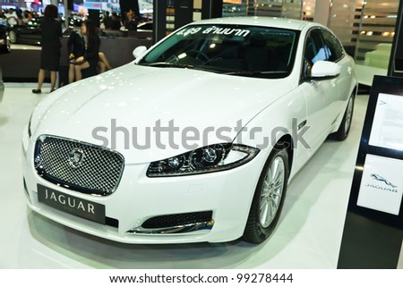 BANGKOK, THAILAND- MARCH 31: Jaguar XF on display at the Bangkok International Motorshow 2012 at Impact MuangThongThani on March 31, 2012 in Bangkok,Thailand - stock photo