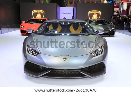 BANGKOK, THAILAND - MARCH 24 :  Lamborghini Huracan displayed on stage at the 36th Bangkok International Motor show  in March 24, 2015. Bangkok, Thailand. - stock photo