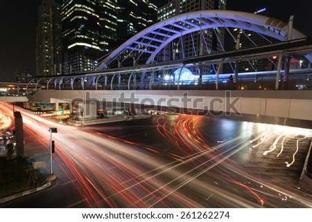 Bangkok, Thailand - March 14 ,2015: Long exposure Intersection of Sathorn business street