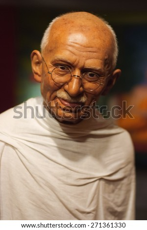 BANGKOK THAILAND - MARCH 5, 2015:Mahatma Ghandi waxwork figure -Madame Tussauds Siam discovery - stock photo