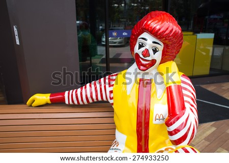 BANGKOK, THAILAND - MARCH 15 : Mascot of a McDonald's Restaurant on March 15, 2015 in Bangkok, Thailand. It is the world's largest chain of hamburger fast food restaurants. - stock photo